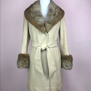 Vintage Sherwood Beige Fox Fur Trim Coat Tie 1970s